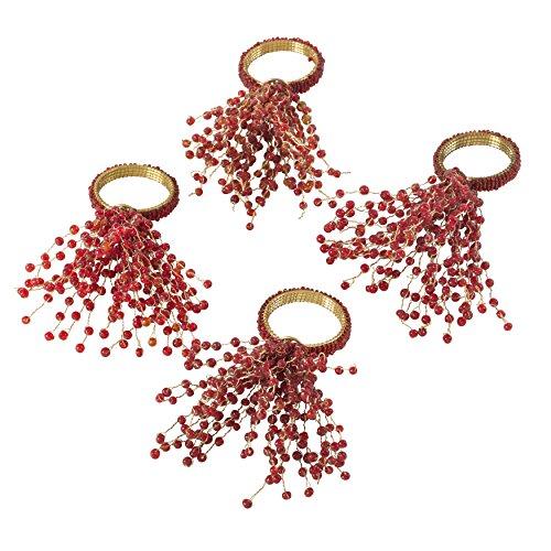 SARO LIFESTYLE Beaded Burst Design Napkin Ring - Set of 4, Red
