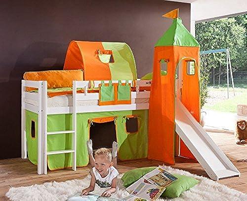 Froschk g24 Hochbett Alex Kinderbett mit Rutsche Spielbett Bett WeißStoffset Grün Orange, Matratze mit