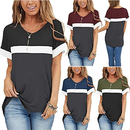 Bluse Donna semplicità Moda Estate Scollo V Donna T-Shirt Squisito Contrasto Colore Splicing Design Quotidiano Casual Luce Morbido Comodo Sciolto all-Match Donna Manica Corta A-Black M