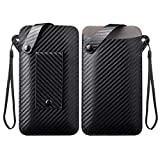 DFV mobile - Holder Ultra Lightweight Belt Case with Snap Fastener for Vodafone Smart N8 - Carbon Fiber