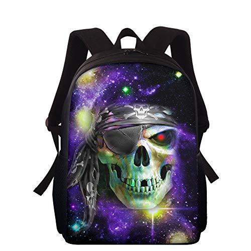 HXA Galaxy Kids Bookbags Cartable Fashion Punk Skull Sacs à Dos pour Ordinateur Portable 15 Pouces Travel Camping Casual Daypacks pour Les garçons