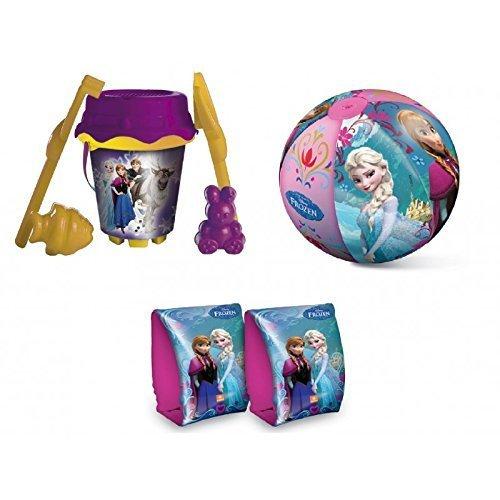 Lively Moments Strandset mit 6 teiligem Eimer / Sandeimer, Wasserball und Schwimmflügel / Schwimmhilfe Disney Frozen - Die Eiskönigin