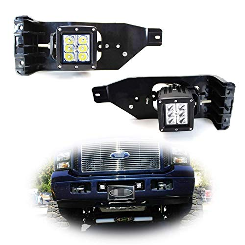 iJDMTOY Foglight Location Fit LED Pod Lights Compatible With 2005-07 Ford F250 F350 F450 Super Duty, Including (2) 3-Inch White 24W LED Cubic Lamps, Fog Area Mounting Brackets and Switch Wire Harness