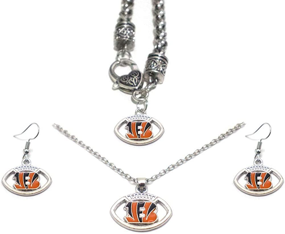Necklace Earrings 3PCS Jewelry Set for Rugby Fans Including Bracelet Gift Set