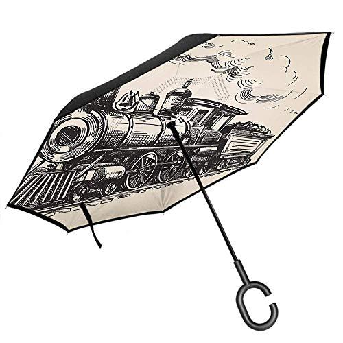 Dliuxf Zug UmbrellaVintage Zug in der Landlokomotive aus Holz Wagons Rail Road mit Smoke Car Reverse Inverted Windproof UV Umbrella -K409