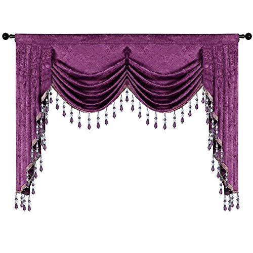 Gxi Customize Purple Chenille Waterfall Blackout Curtain Valance Beaded European Luxury Curtain Drapes Rod Pocket Window Treatments Valance for Living Room 1 Panel W98 Inch