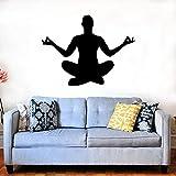 YuanMinglu Yoga Hombre Relajarse meditación Budista Yoga hogar calcomanía Pared Pegatinas decoración de la habitación 57x44cm
