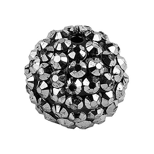 Ideen mit Herz Cuentas de cristal para ensartar   Cuentas de bola de discoteca   10 unidades de tamaños a elegir (antracita, 10 mm)