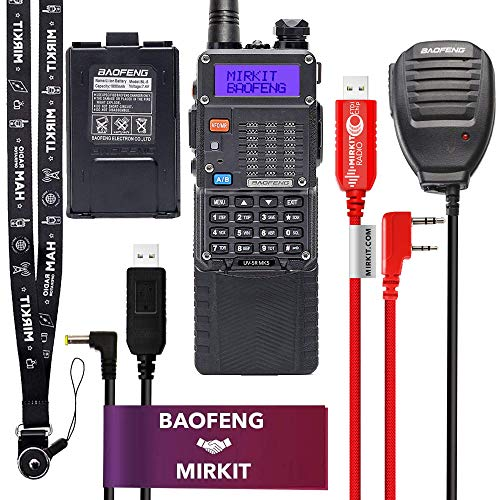 Mirkit Extra Pack BaofengRadio UV-5R MK5 MP Max Power with 3800 mAh, Handheld Speaker Mic, Baofeng Programming Cable and Software - Extended Kit