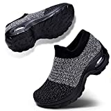 Women's Walking Shoes Slip on Athletic Tennis Breathable Running Sneakers Grey Black Size 7