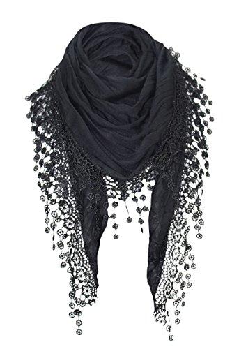 PiriModa Damen Halstuch Tuch Dreiecktuch mit Bommeln Viele Farben (Schwarz)