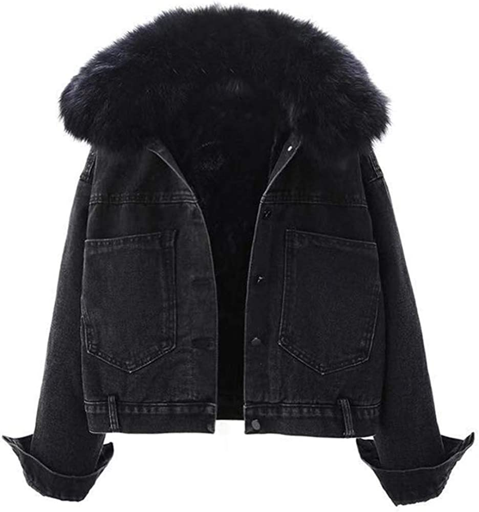 Kedera Women Sherpa Fleece Lined Denim Short Jacket Thicken Jean Trucker Coat