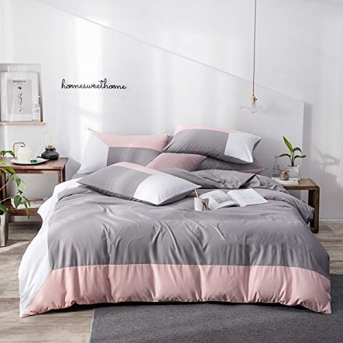 Lanqinglv Bettwäsche Set 135 x 200 cm 2 Teilig Rosa Grau Weiß Wendebettwäsche 120g Mikrofaser Uni Einzelbett Bettbezug Deckenbezug mit Reißverschluss und Kissenbezüge 80 x 80cm