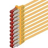 1aTTack - Cable de Red SFTP PIMF con 2 Conectores RJ45 de Doble apantallamiento Cat 6 0 Amarillo - 10 Unidades 0,25m