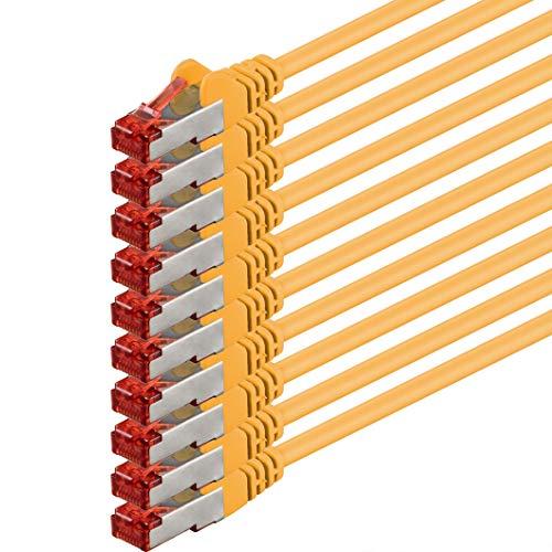 1 aTTack CAT6 PIMF SSTP Netzwerk Patch-Kabel mit 2 x RJ45 Stecker doppelt geschirmt - gelb - 10 Stück 1,0 Meter
