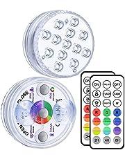 Alilimall Nedsänkbara LED-lampor, RGB färgändrande 10-LED vattentät undervattensspa badtunna lampa för vas bröllopsbas akvarium damm halloween fest jul heminredning, trådlös