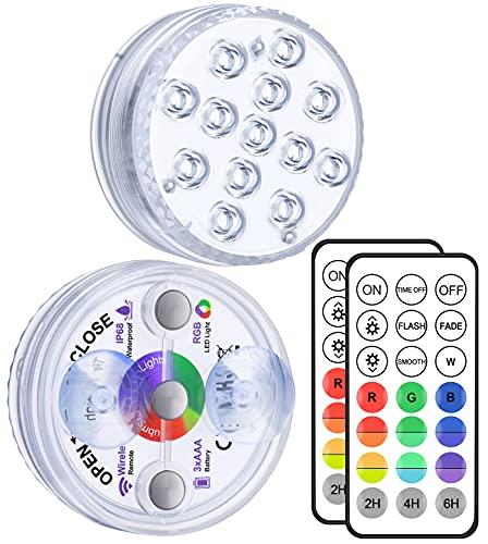 Alilimall Unterwasser Licht mit Fernbedienung RF, 3 Magnet, 13-LED RGB Mehrfarbige Wasserdichtes LED Licht Saugnäpfe Poolbeleuchtung für...