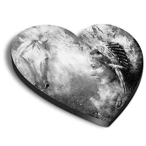 Destination Vinyl ltd Aimants en MDF en forme de cœur – BW – Native American Navajo Woman pour bureau, armoire et tableau blanc, autocollants magnétiques, 43271