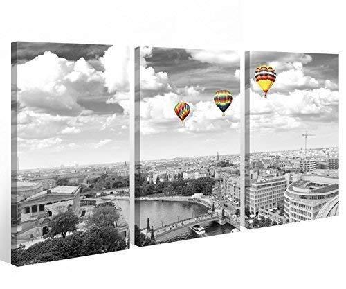 Leinwand Berlin 3 tlg. Bilder Skyline Luftballon Stadt Wandbild Brücke 9A489 Holz-fertig gerahmt -direkt Hersteller, 3 tlg BxH:120x80cm (3Stk 40x 80cm)