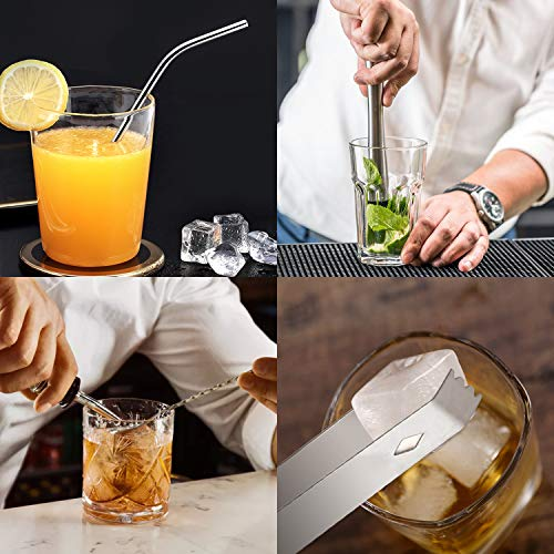 FYLINA Cocktail Shaker 14-Piece, Cocktail Shaker Bar Set 750ml, Shaker Cocktail Kit with Mixing Spoon, Muddler, Bottle Stoppers, Liquor Pourers, Strainer, Cocktail Recipe Guide, etc. Gift for Men and Women