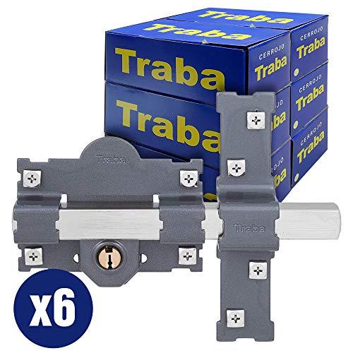 FAC SEGURIDAD - Pack cerrojos para puertas Traba 24001 pintado izquierdo o derecho Fac Seguridad (Caja 6 unidades de cerrojos Traba 101L o 101R) (101-L)