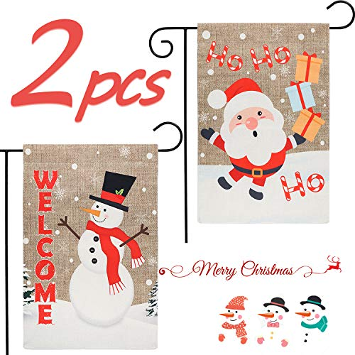 GROBRO7 2 Pcs Christmas Garden Flag Decorative Flag Snowman Welcome & Santa Claus HoHoHo Flag Outdoor Decoration Linen Flag for Winter Holiday