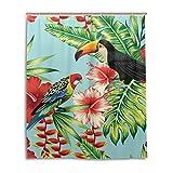 ALARGE - Cortina de ducha con diseño de pájaro tucán y hojas de palma, resistente al agua, tela de poliéster con gancho de 12 agujeros para decoración del hogar de 150 x 180 cm