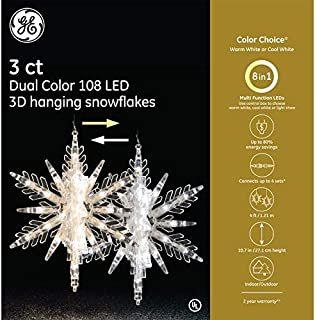 GE 'Color Choice' 3D Hanging Multi-Function LED Color Changing Snowflakes