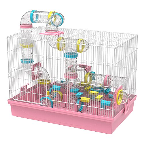 GNB PET Large Hamster Cage & Habitat DIY 20''x12''x15'', with Tunnels Tubes Toys, for Gerbil Mouse Mice, Pink