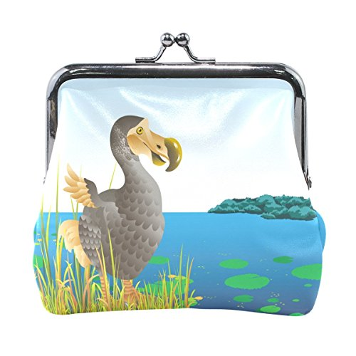 Animal Dodo uccello portamonete con chiusura a portafoglio per donne e ragazze in pelle
