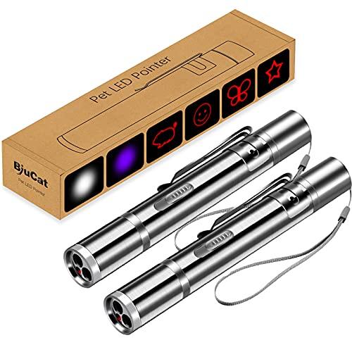 BiuCat 7 in 1 USB LED Pointer Interaktives Spielzeug für Katzen Hund Haustier wiederaufladbar(2er Pack)