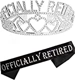 Officially Retired Retirement Party Set Silver, Officially Retired Tiara/Crown, Retirement Sash for Women, Officially Retired Satin Sash, Retirement Party Supplies, Retirement Gifts for Women, Retir