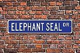 Tamengi Sello de elefante, regalo de elefante, sello de elefante, decoración de elefante, residente de zoológico, acuario, cartel de metal de calidad, 4 x 18 (348, fabricado en Estados Unidos).