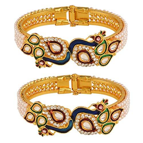 Efulgenz Fashion Jewelry Indian Bollywood 14 K Gold Plated Faux Pearl Kundan Rhinestone Peacock Bracelet Bangle (2 Pc) (Style 2)