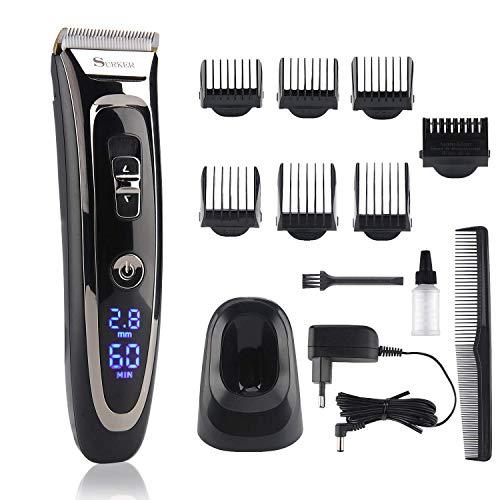 Tondeuse Cheveux Hommes Lovebay 11-In-1 Set de Tondeuse Barbe Professionnelle Electrique,28 longueurs de 0.8 mm à 32,8 mm/Alimentation Rechargeable et Batterie/Céramique/Titane et un Ecran LCD