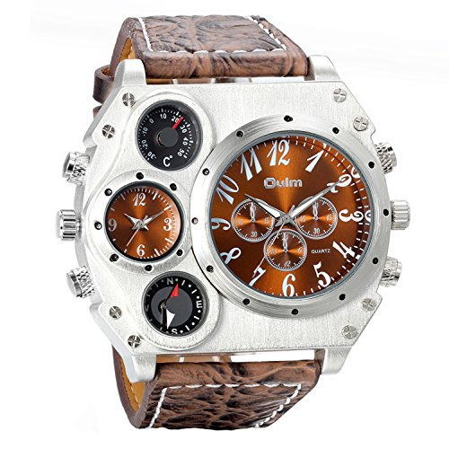 Avaner Mens Big Face Watch, Unique Cool Military Wrist Watch, Dual Time Zone Leather Strap Sport Watch, Analog Quartz Display with Decorative Compass Thermometer Dial