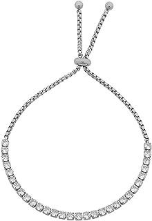 Bevilles White Crystal Tennis Bolo Bracelet