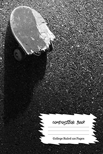 Broken Skateboard: Composition Book Wide Ruled 120 pages (6 x 9) : Journal For Skateboarders and Skate Fans