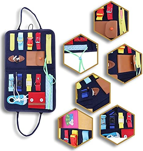 Toddler Felt Busy Board Fidget Toys Ages 1-6 / Montessori Sensory Activity Board / Learning Activities for Fine Motor Skills Travel Toy for 1 2 3 4 Year Old / Educational Toys Gift for Toddlers