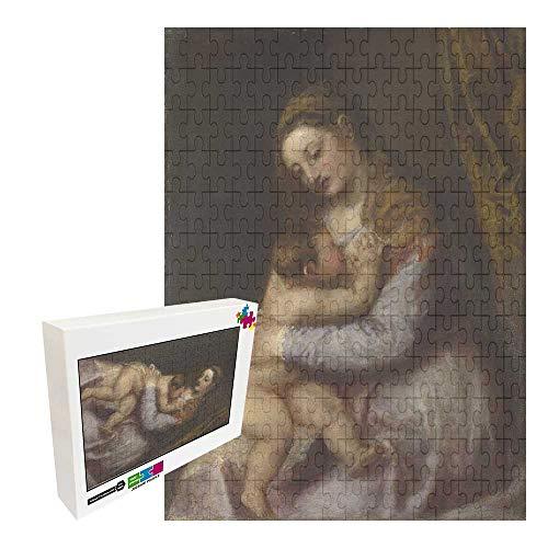 Jimoon 1000 piezas de puzzles para adultos y niños rompecabezas de madera TITIAN LA VIRGEN chupando al CRISTO INFANTIL
