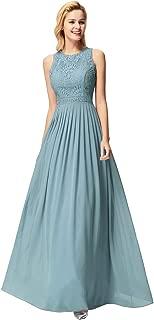 Ever-Pretty Women's Round Neck A Line Sleeveless Floor Length Lace Bridesmaid Maxi Evening Dresses 07391