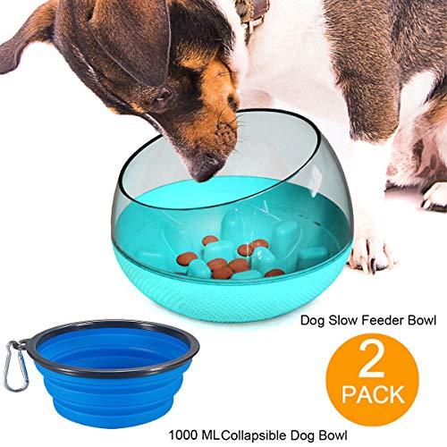 ECOSCO, confezione da 2 ciotole per animali domestici e ciotola pieghevole di grandi dimensioni da 1000 ml, divertente ciotola interattiva per cani e gatti, ciotola da viaggio portatile