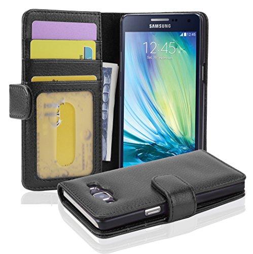 Cadorabo Custodia Libro per Samsung Galaxy A5 2015 in NERO PROFONDO - con 3 Vani di Carte e Chiusura Magnetica - Portafoglio Cover Case Wallet Book Etui Protezione