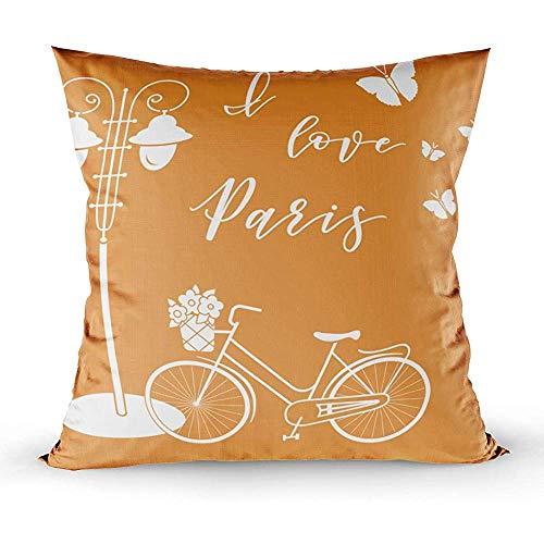Bue Time Quadratischer Dekokissenbezug, Fahrradkorb Blumen Laterne Schmetterlinge Die Inschrift Liebe Paris Reise Freizeit I, Grüner Pfirsich