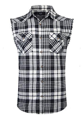 SOOPO Herren Ärmellose Kariert Flanell Hemden Freizeithemd aus Baumwolle Sleeveless T-Shirt(schwarz&weiß,2XL)