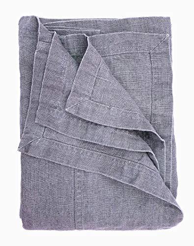 JOWOLLINA Bettüberwurf Plaid Decke Rasa 100% Leinen Stonewashed (Steel, 250x280 cm)