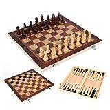 3-in-1 Combinazione di legno di scacchi, scacchi a dama Gioco di backgammon con scacchiera pieghevole Gioco da viaggio per tutte le età Gioco da tavolo a scacchi