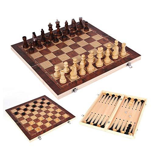 Schachbrett Tragbare Holz 3 in 1 Schach Dame Backgammonspiel Klappbrett Schachspiel Internationalen Schachspiel