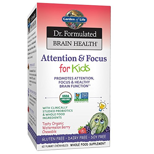 Garden of Life Dr. Formulated Attention and Focus for Kids, Supplement Promotes Healthy Brain Function, Concentration with Organic Wild Blueberry, Pine Bark, Vitamin C, D and Probiotics, 60 Chewables