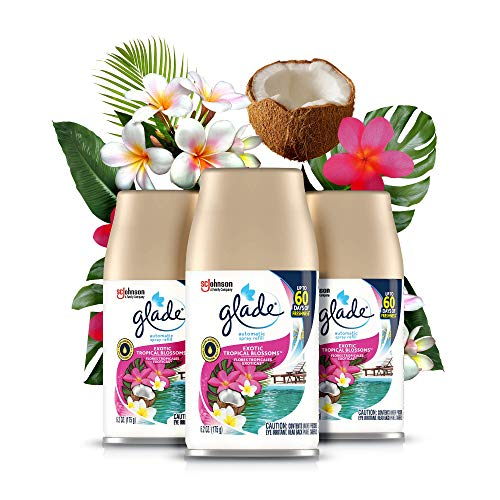 Glade Automatic Spray Refill and Holder Kit, Air Freshener for Home and Bathroom, Tropical Blossoms, 6.2 Oz, 3 Count